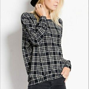 NWT Love In Black Cream Plaid Grid Sweater L